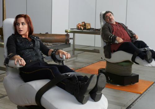 Strained though the father-daughter-esque relationship may get between Claudia and Artie, it is never broken and they will always be there for each other come what may (image via Warehouse 13 official site (c) syfy)