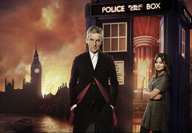 The new Doctor (Peter Capaldi) and companion Clara Oswald (Jenna Coleman) find themselves in Victorian  England dealing with dinosaurs and cyborg gents oh my! (image via official Doctor Who site (c) BBC)