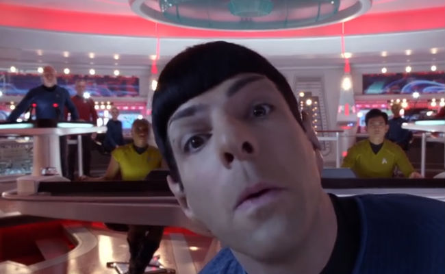 Spock (Zachary Quinto) displays rare whimsy as he comes perilously and humourously close to breaking down the fourth wall (image via YouTube (c) Paramount)