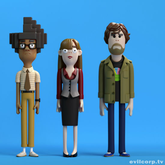I adore the IT Crowd and Evil Corp have done an amazing job of rendering Moss, Jen and Roy as their claymation doppelgangers (image via and (c) Evil Corp)