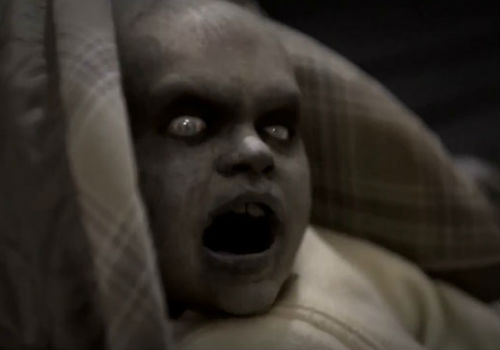 Awww what a sweet, um, flesh-eating baby ... nope, not really; just a hammy, ridiculously-executed plot device ... move on there's nothing to see here (image via Inlander (c) Syfy / The Asylum)