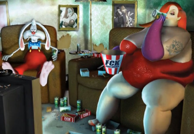 Their glory days long behind him, life is a whole lot tougher for the once fesity duo of Roger and Jessica Rabbit (image via Vimeo (c) Steven Cutts)