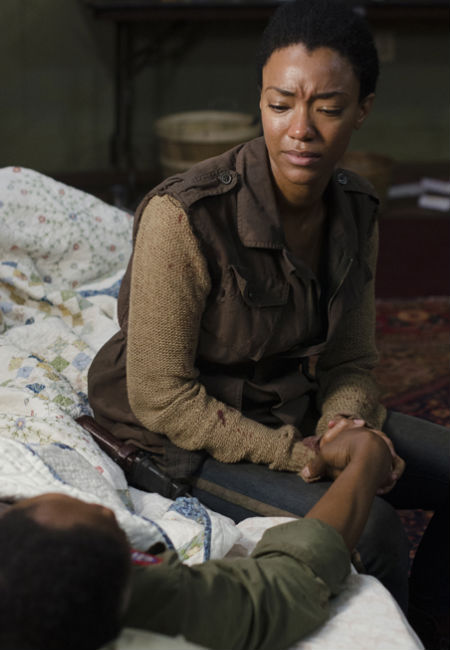 The scenes between Sasha (Sonequa Martin-Green) and Bob (Lawrence Gilliard Jr.) are among the most heartbreaking that The Walking Dead has ever featured, a sign that death is still not a casual fact of life for those who choose to hang onto their humanity (image (c) Photo by Gene Page/AMC via official AMC TWD page)