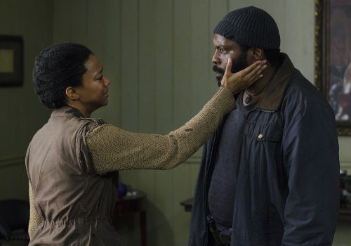 Those they may stand on opposite sides of the forgiveness/ vengeance divide, there was never any sense of a schism with Tyreese standing shoulder to shoulder with his younger sister through the desperately sad, dark night of the soul she was enduring (image (c) Photo by Gene Page/AMC via official AMC TWD page)