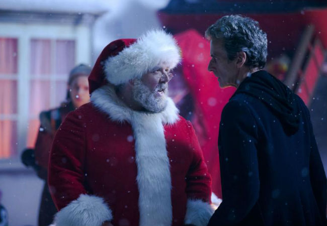 Be careful Doctor! Argue too much with Santa Claus (Nick Frost) and you might just find yourself on the naughty list for eons (Image via Screenrant (c) BBC)