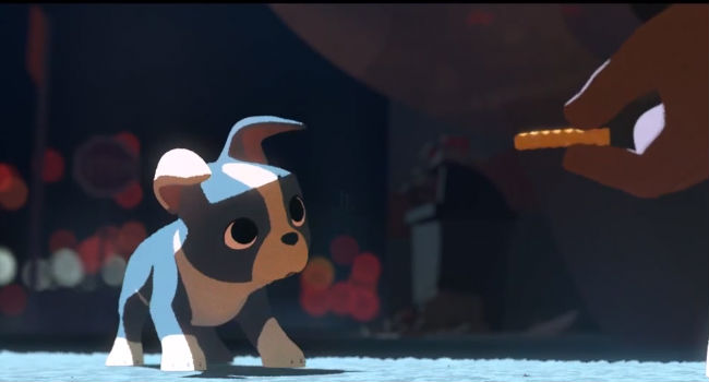 Winston is offered his first morsel of delicious food, beginning a love affair with all kinds of tasty offerings (image via YouTube (c) Disney)