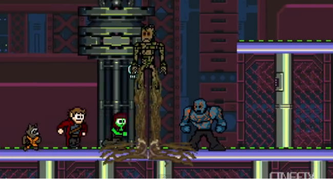 8 bit video game take on last year's galaxy-spanning megahit Guardians of the Galaxy (image via YouTube (c) CineFix by David and Henry Dutton)